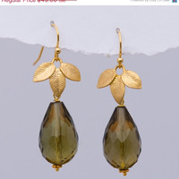 ON SALE - Smokey Quartz Earrings - Drop Earrings - Gold Earrings - Flower Earrings