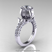 Classic 14K White Gold 1.0 Ct White Sapphire Diamond Solitaire Wedding Ring R410-14KWGDWS
