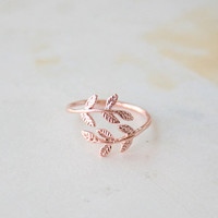Rose Gold Delicate Laurel Leaf Adjustable Ring, Dainty Ring, Simple Ring, Everyday Ring, Tiny Ring, Gift Jewelry