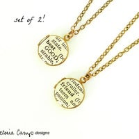 Set of TWO Best Friend Locket Necklaces - Dictionary Words, Choose Your Metal Color - Rose Gold, Gold, Silver, Brass