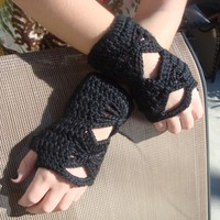 Crochet Wrist Warmer - Fingerless Gloves - Butterfly Gloves - Black Mittens - Fashion Accessories