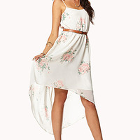 Romantic High-Low Floral Dress w/ Belt