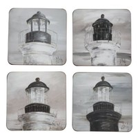 Ascentielle Black & White Vintage Lighthouse Lantern Room Coaster Set - 4