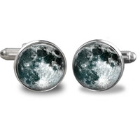 Full Moon Cuff Links : Silver Cufflinks. Mens Cufflinks. Space Cufflinks. Handmade Accessories. Moon Accessories. Lizabettas (1045)
