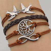infinity tree bracelet, cute swallow bracelet, women rope bracelet personalized cute bracelet Friendship Gift A006