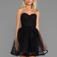 Alice + Olivia Landi Gathered Cinched Waist Pouf Dress in Black