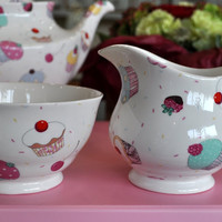Sheltonian Cupcakes Bone China Milk Jug and Sugar Bowl tea set