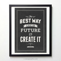 Abraham Lincoln quote poster - Create your Future - Black and white vintage art print A3