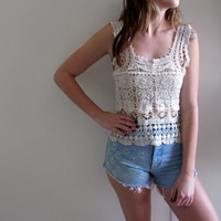 White Lace Tank Crochet Womens See Through Sleeveless Blouse Bohemian Gypsy Sheer Knit Top Blouse Shirt