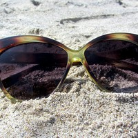 Transparent Green and Brown Cat Eye Sunglasses