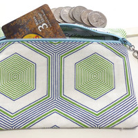 Hexagons Blue Green and White Swirl Makeup Cosmetic Bag