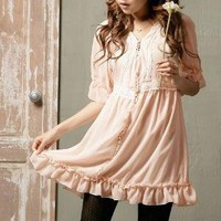 Creamy Pink Chiffon Ruffle Prairie Dress by cupcake.kiss on Sense of Fashion