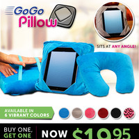 GoGo Pillow - Plush multifunction pillow that holds your tablet anytime, anywhere!