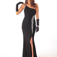 Black One Shoulder Goddess Gown-Evening Dress
