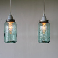 Pair of Antique Aqua Blue BALL Mason Jar Hanging Lighting Fixtures - 2 Upcycled Pendant Lamps - BootsNGus Lights