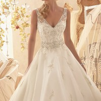 V Neck Tulle Gown by Bridal by Mori Lee