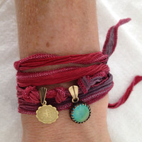 SAGITTARIUS Zodiac Silk Wrap Charm Bracelet with Color Changing Cabochon