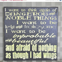 ThanksABunch - SALE - I want to be improbable and beautiful... - Cute Inspirational - Expressive Word Canvas