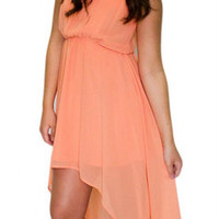 Summer Peach Hi-Lo Dress - HipSway