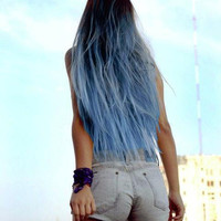 "Sky Blue Ombre Hair Extensions, Blue Dip Dye Hair, Dark Brown Ombre, Black Hair Dip Dyed with Blue//(7) Pieces//22""/Customiz­e your Base"