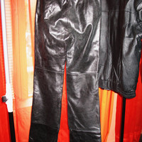 Amazing Vintage LEATHER Pants For High Boots Black Retro Style W Front Zipper Lined Size 0