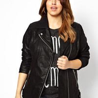 New Look Inspire Oversized Leather Look Biker Jacket