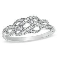 1/5 CT. T.W. Diamond Infinity Knot Ring in Sterling Silver