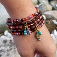 New ~~ Bohemian Sunset - Beaded Stretch Bracelet Stack in Czech glass and Wood