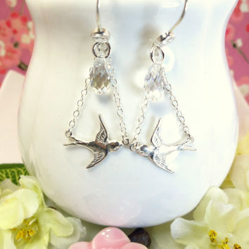 Sterling silver love bird Swarovski crystal chandelier earrings, silver mocking jay dangle earrings, hunger games silver earrings