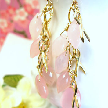 Rose pink chalcedony pink ribbon breast cancer gold chandelier earrings, pink breast cancer earrings, breast cancer awareness