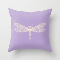 Lavender Dragon Throw Pillow by Catherine Holcombe