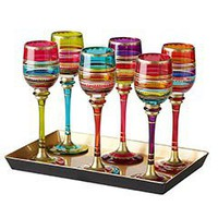Product Details - Festive Stripe Cordial Glasses with Tray