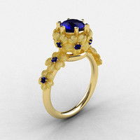Natures Nouveau 18K Yellow Gold Blue Sapphire Flower Engagement Ring NN109S-18KYGBSS