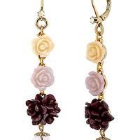 BetseyJohnson.com - FABULOUS FLOWERS LINEAR EARRING MULTI