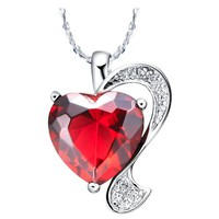 18K White Gold Plated Design Heart Swarovski Elements Cyrstal Pendant Necklace - Ruby Red
