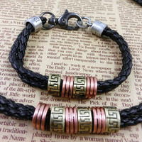 2-Pack Leather Bracelets and Necklace-  Wristband - Great For Men, Women, Teens, Boys, Girls 2596s