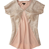 CUPIO Gold Rose Short Sleeve Blouse with Front V-Neck