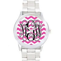 Monogrammed Watch- Hot Pink Chevron