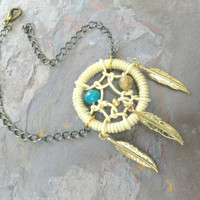 Gold Dream Catcher Bracelet Natural Colors
