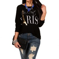Black 'Ça, C'est Paris!' Sweatshirt Top