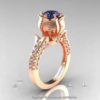 Classic 14K Rose Gold 1.0 Ct Alexandrite Diamond Solitaire Wedding Ring R410-14KRGDAL