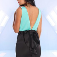 Mint and Black Sleeveless Dress with Open Bow Back