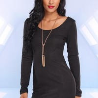 Black Metallic Long Sleeve Bodycon Dress