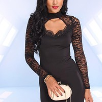Black Sweetheart Dress with Lace Sleeves & Cutout Back