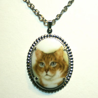 Vintage Cat Necklace Upcycled Pendant Orange Tabby Silver Tone Chain