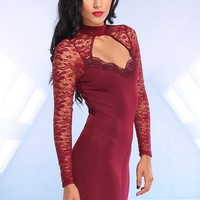Burgundy Sweetheart Dress with Lace Sleeves & Cutout Back
