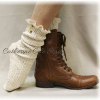 Socks lace boot socks boot socks combat boot socks womens boot socks cowboy boot socks CABIN CUTIE Natural Fleck Catherine Cole Studio SLC1