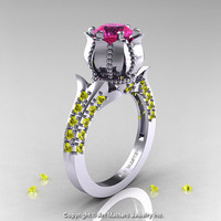 Classic 14K White Gold 1.0 Ct Pink and Yellow Sapphire Solitaire Wedding Ring R410-14KWGYSPS