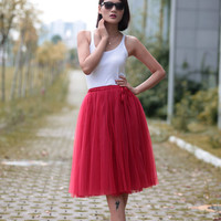 Tulle Skirt Tea length Tutu Skirt Knee length tulle tutu Princess Skirt Wedding Skirt in cherry - NC455