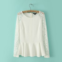 Contrast Lace Long Sleeve Ruffle Blouse